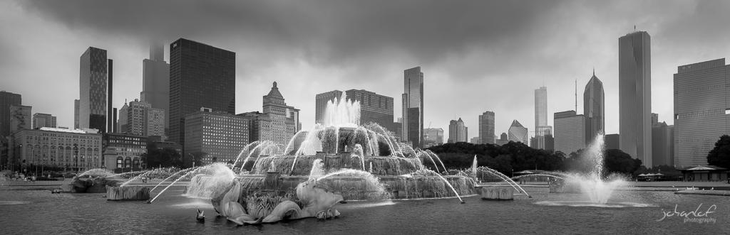 Panorama över fontän i Chicago
