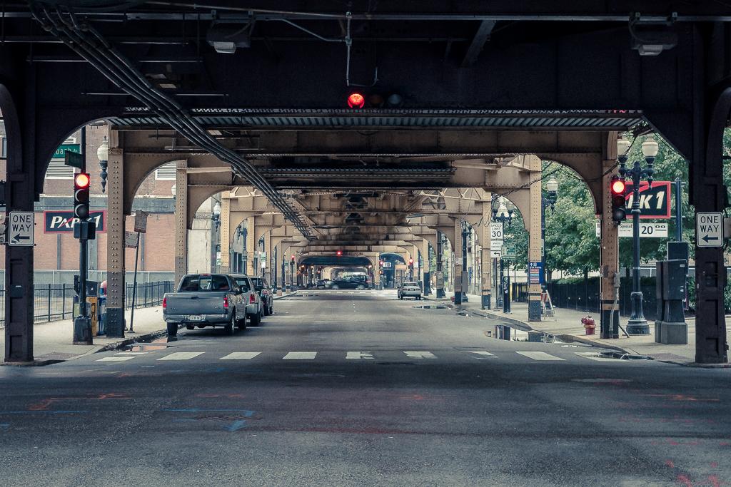Amerikansk biljaktsgata i Chicago
